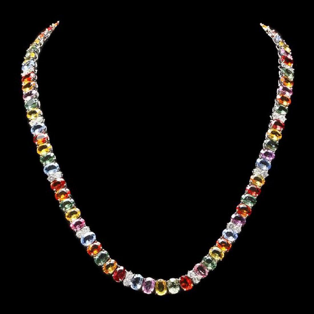 14k Gold 67.00ct Sapphire 4.00ct Diamond Necklace
