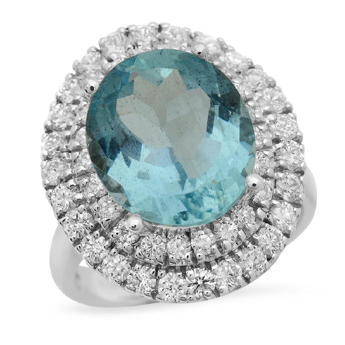 14K Gold 6.88ct Aquamarine 1.65ct Diamond Ring