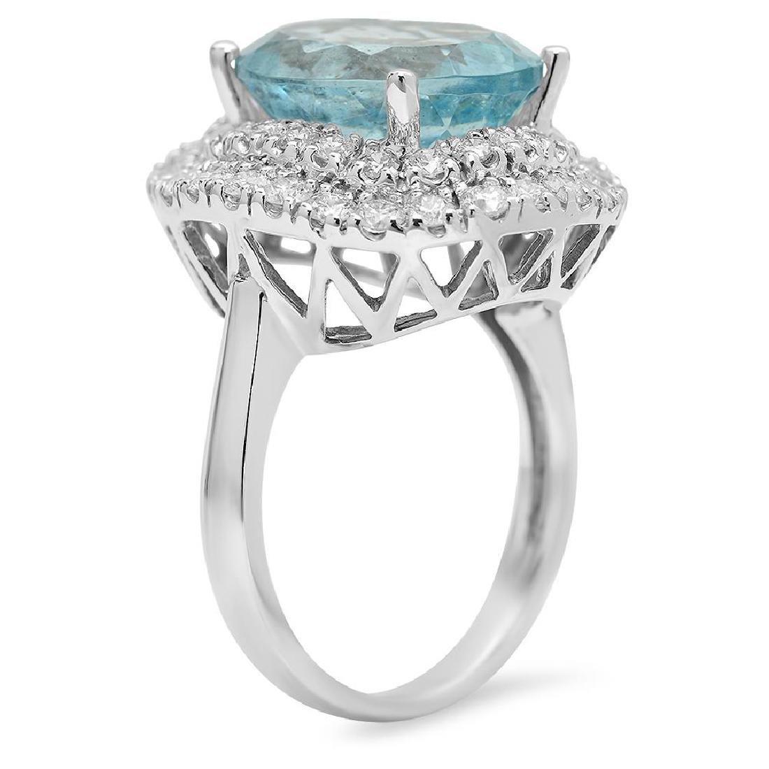 14K Gold 6.88ct Aquamarine 1.65ct Diamond Ring - 2