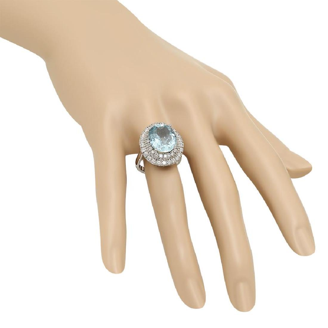 14K Gold 6.88ct Aquamarine 1.65ct Diamond Ring - 3