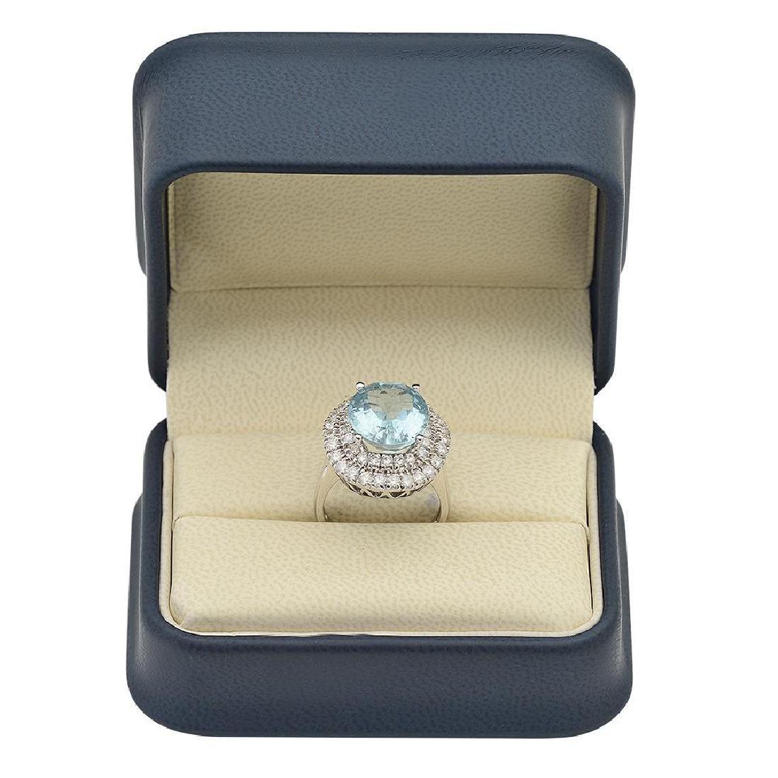 14K Gold 6.88ct Aquamarine 1.65ct Diamond Ring - 4