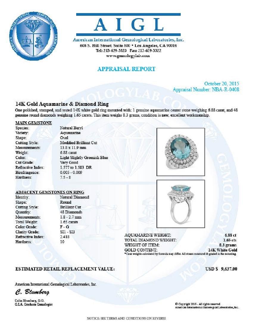14K Gold 6.88ct Aquamarine 1.65ct Diamond Ring - 5