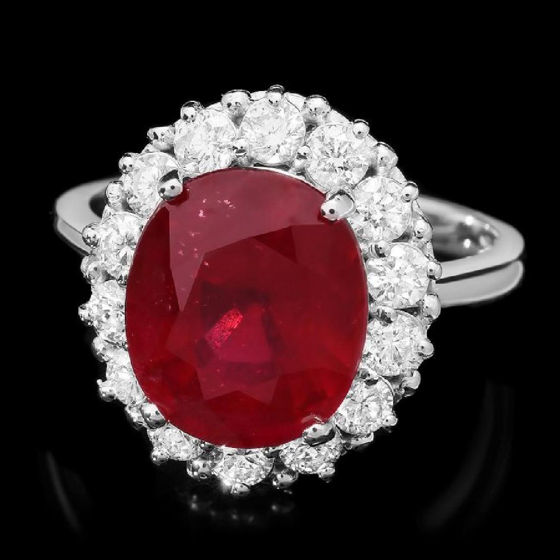 14k White Gold 6.40ct Ruby 1ct Diamond Ring