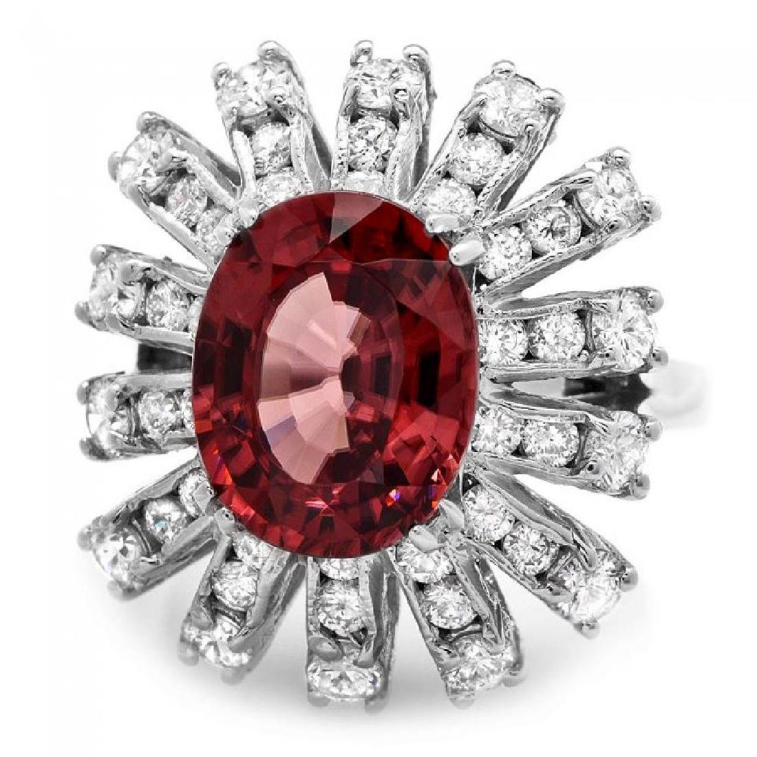 14k White Gold 5.65ct Zircon 1.80ct Diamond Ring - 2