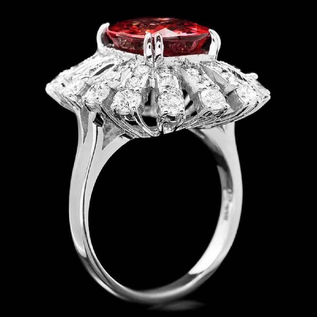 14k White Gold 5.65ct Zircon 1.80ct Diamond Ring - 3