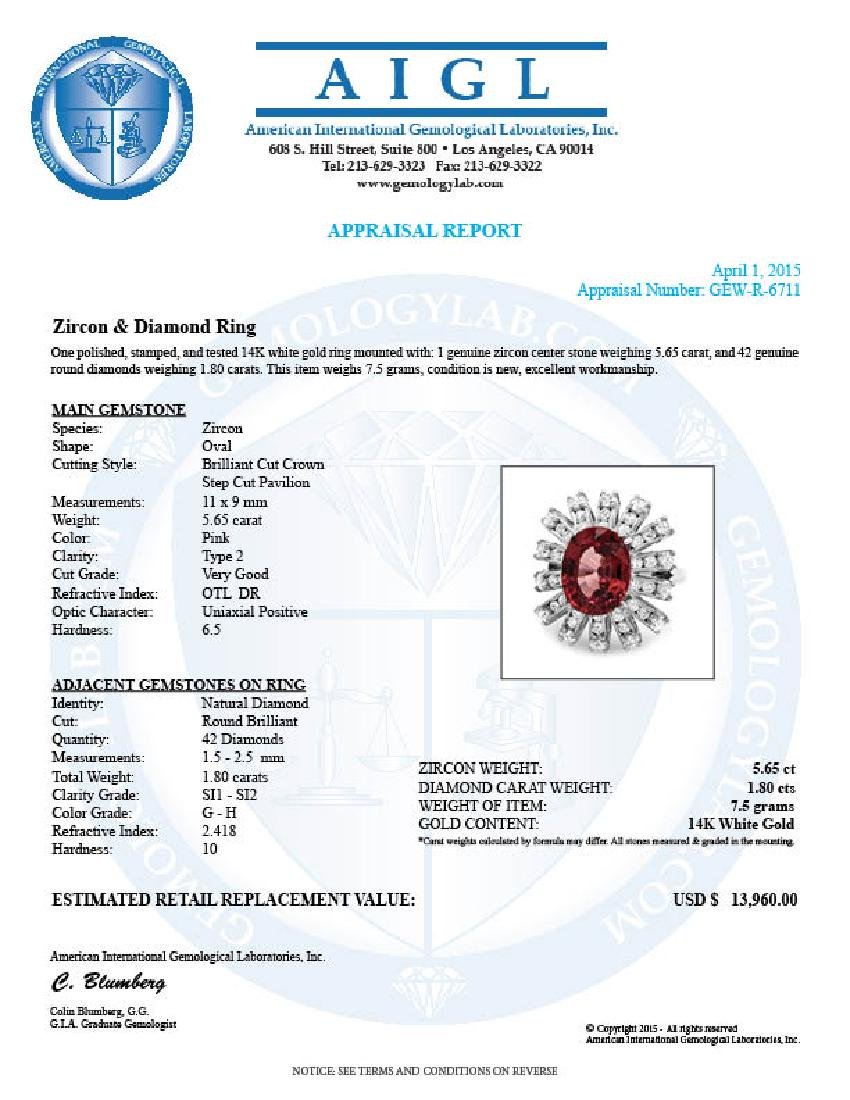 14k White Gold 5.65ct Zircon 1.80ct Diamond Ring - 5
