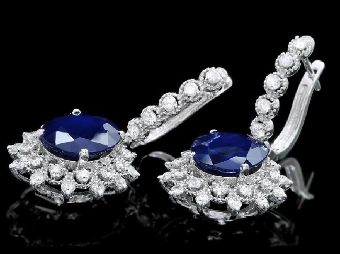 14k Gold 10.00ct Sapphire 1.70ct Diamond Earrings - 2