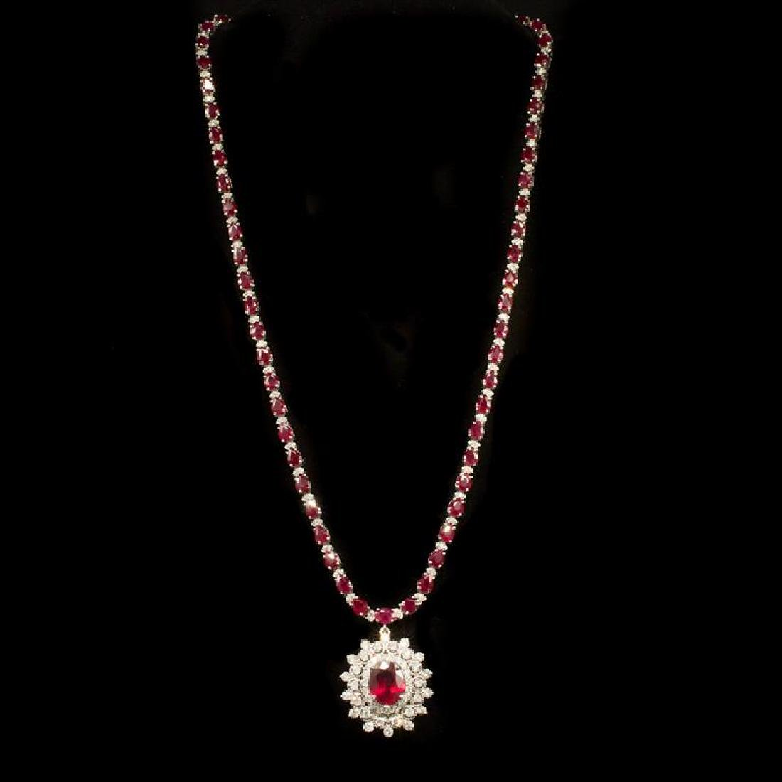 14k Gold 27.74ct Ruby 3.21ct Diamond Necklace - 2