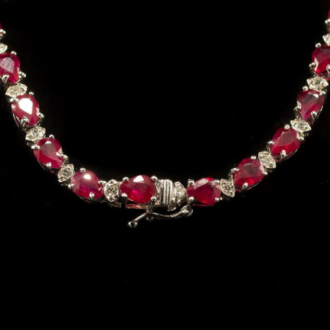 14k Gold 27.74ct Ruby 3.21ct Diamond Necklace - 3