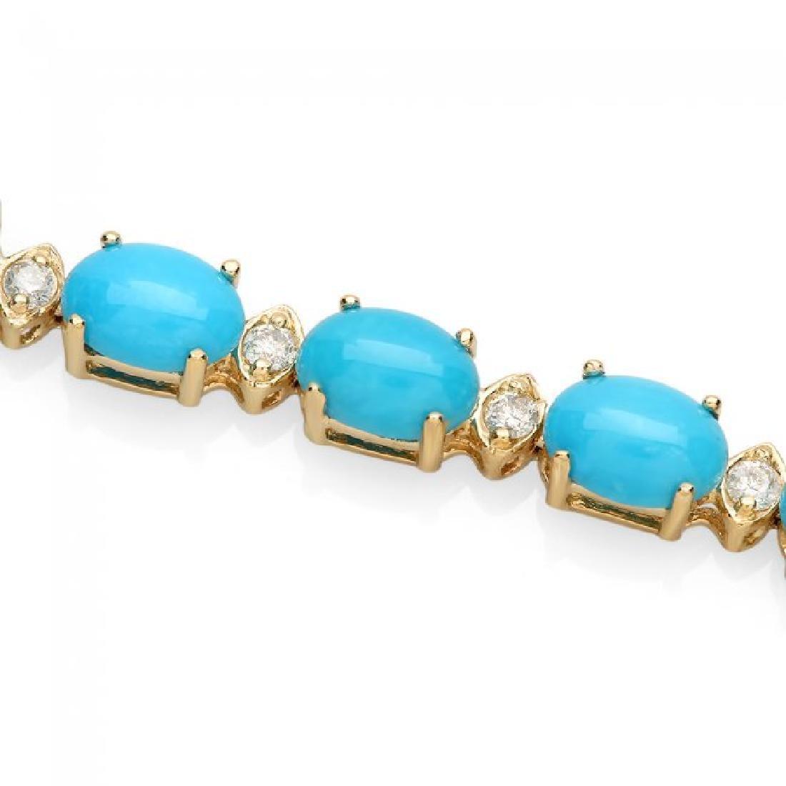 14k 12.00ct Turquoise 0.70ct Diamond Bracelet