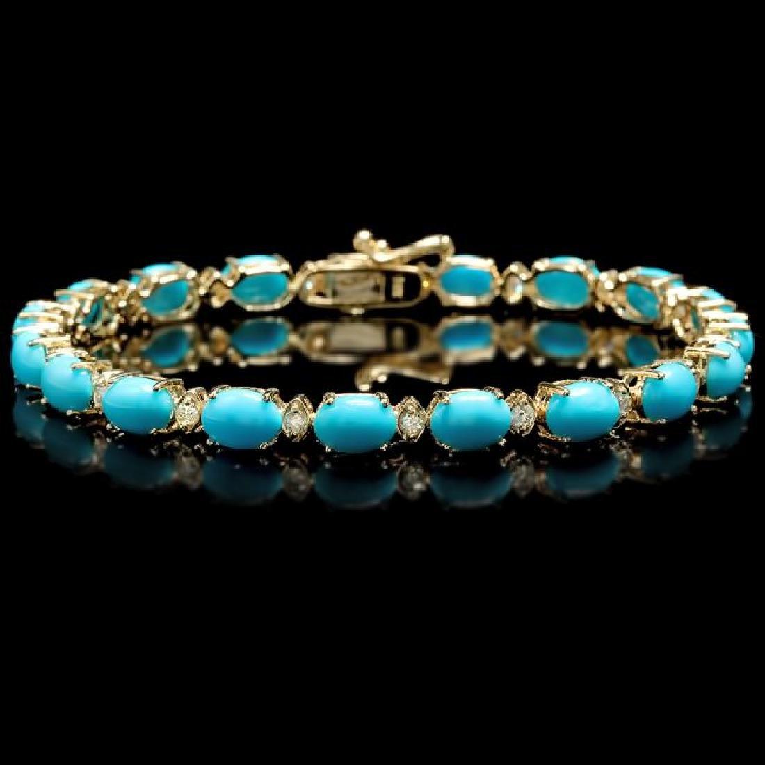 14k 12.00ct Turquoise 0.70ct Diamond Bracelet - 2