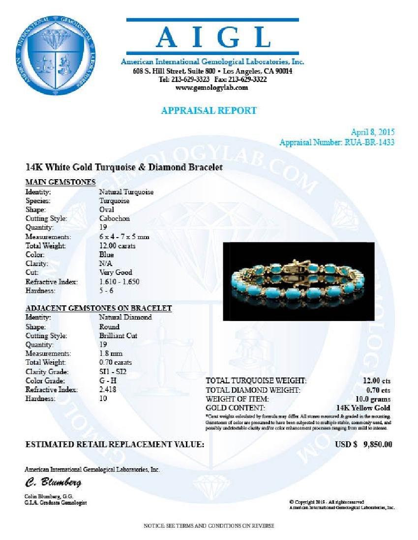14k 12.00ct Turquoise 0.70ct Diamond Bracelet - 5
