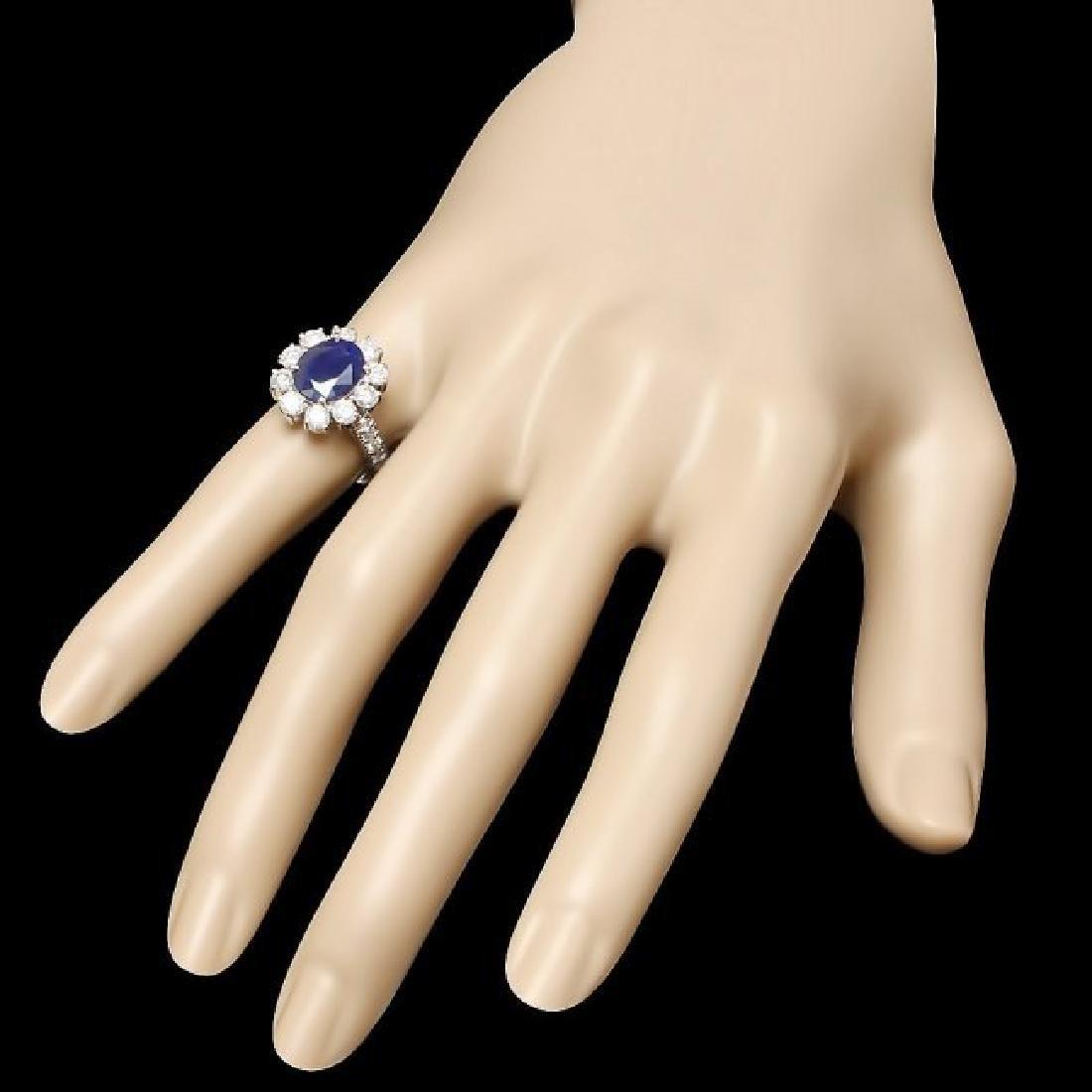 14k White Gold 2.60ct Sapphire 1.5ct Diamond Ring - 3