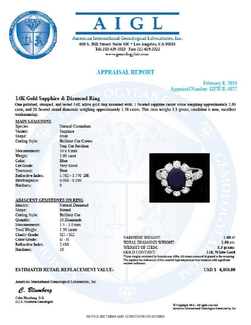14k White Gold 2.60ct Sapphire 1.5ct Diamond Ring - 4