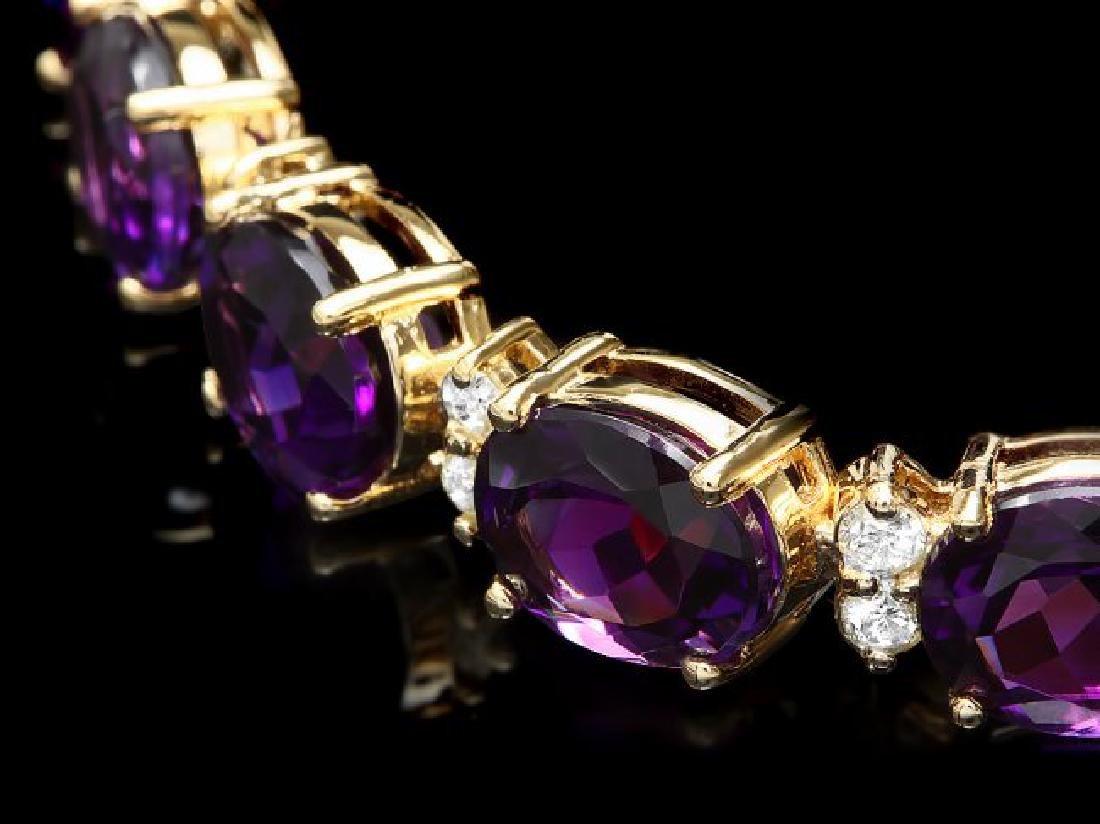 14k Gold 29.00ct Amethyst 1.30ct Diamond Bracelet - 2