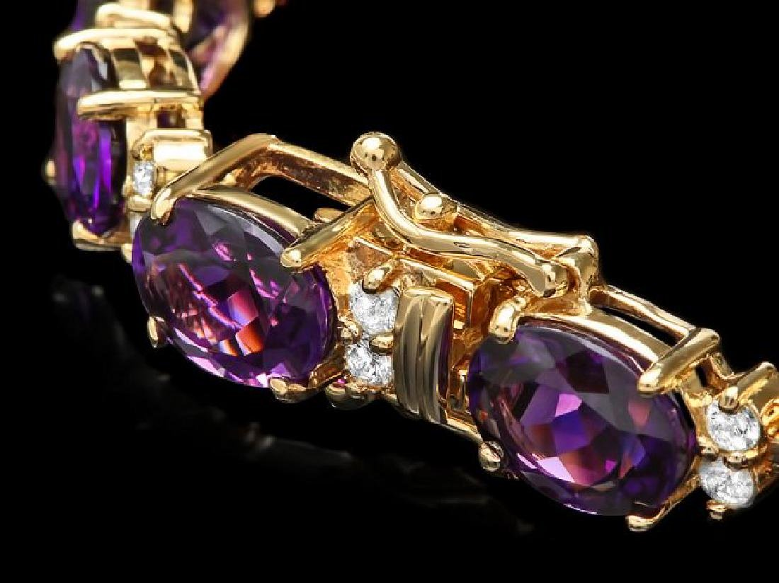 14k Gold 29.00ct Amethyst 1.30ct Diamond Bracelet - 3