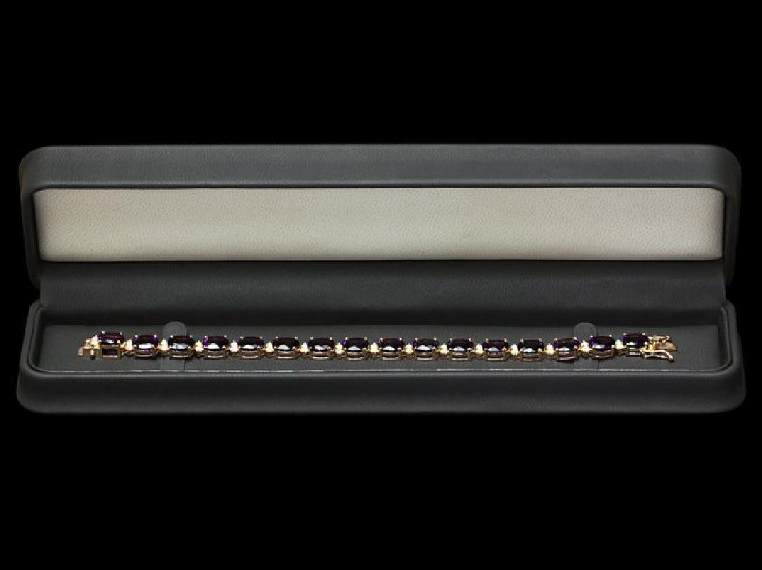 14k Gold 29.00ct Amethyst 1.30ct Diamond Bracelet - 4