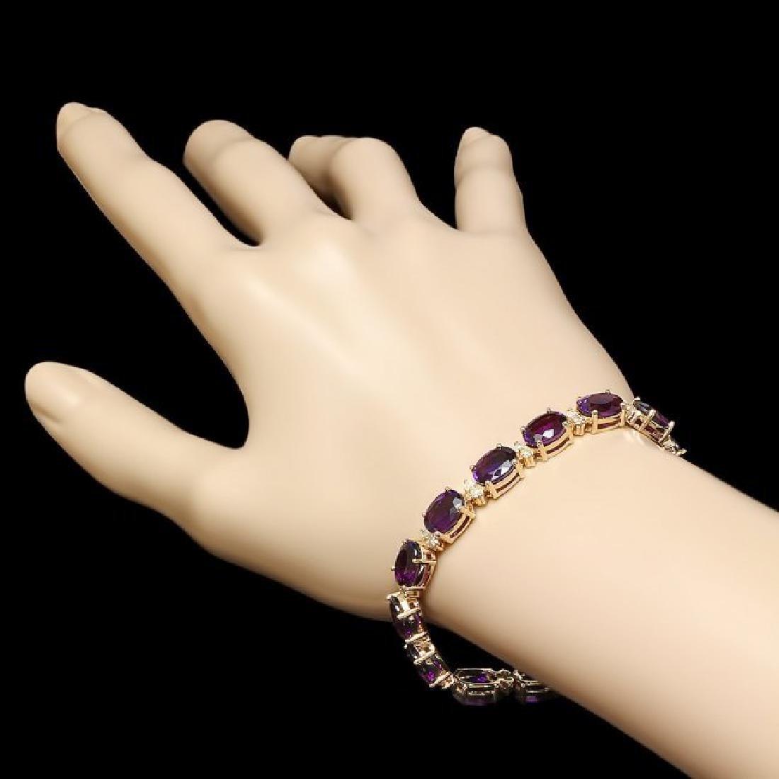 14k Gold 29.00ct Amethyst 1.30ct Diamond Bracelet - 5