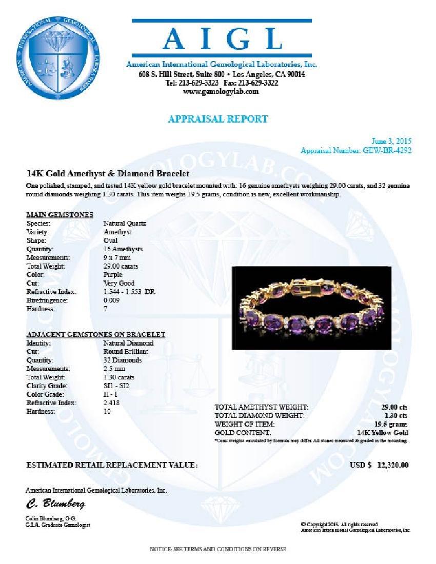 14k Gold 29.00ct Amethyst 1.30ct Diamond Bracelet - 7