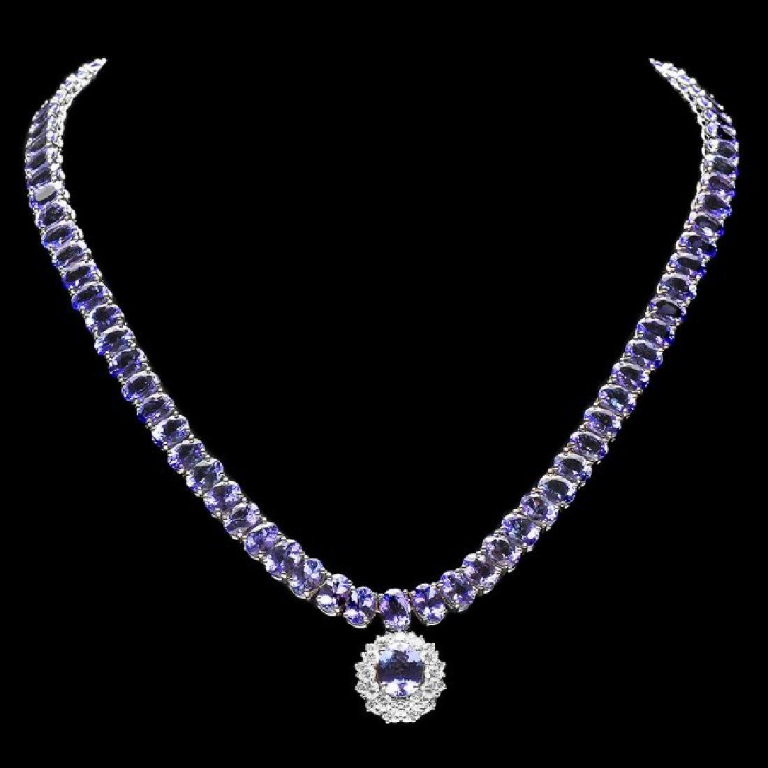 14k W Gold 76ct Tanzanite 1.70ct Diamond Necklace