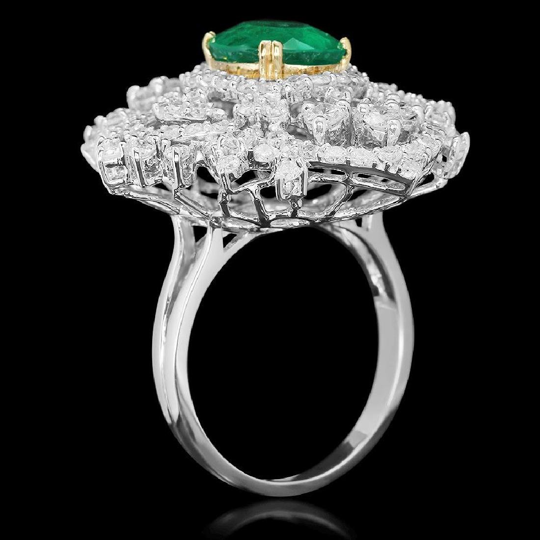 18K Gold 3.11 Emerald 3.22 Diamond Ring - 2