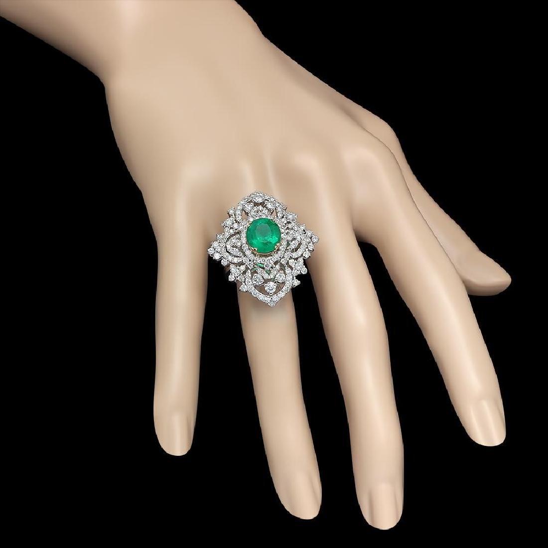 18K Gold 3.11 Emerald 3.22 Diamond Ring - 3