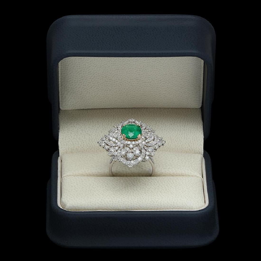 18K Gold 3.11 Emerald 3.22 Diamond Ring - 4