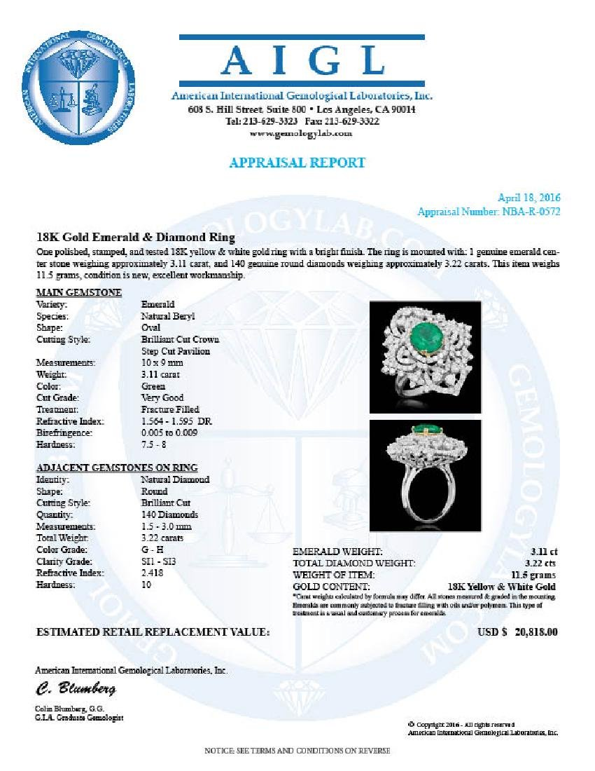 18K Gold 3.11 Emerald 3.22 Diamond Ring - 5
