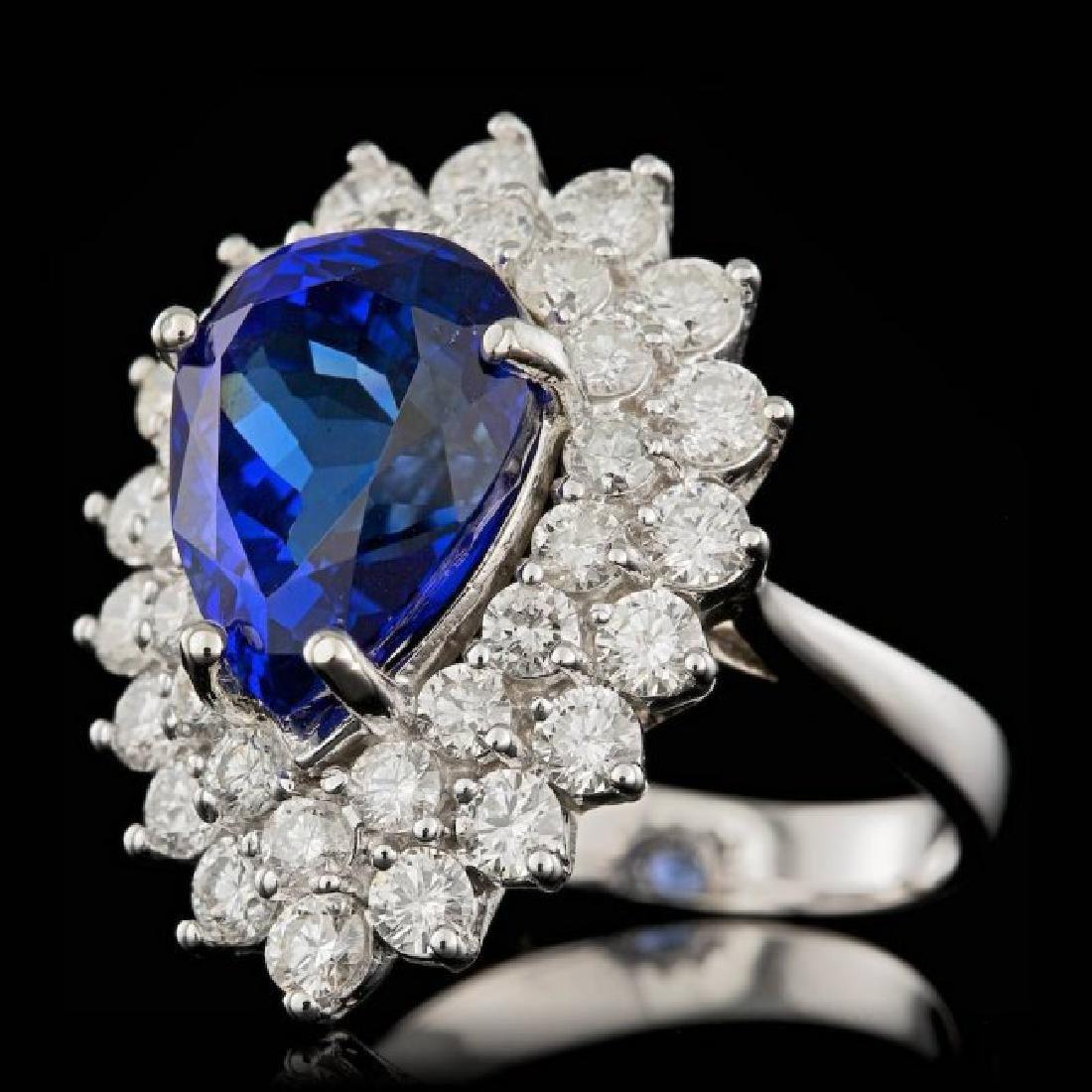 18k Gold 6.50ct Tanzanite 2.40ct Diamond Ring - 2
