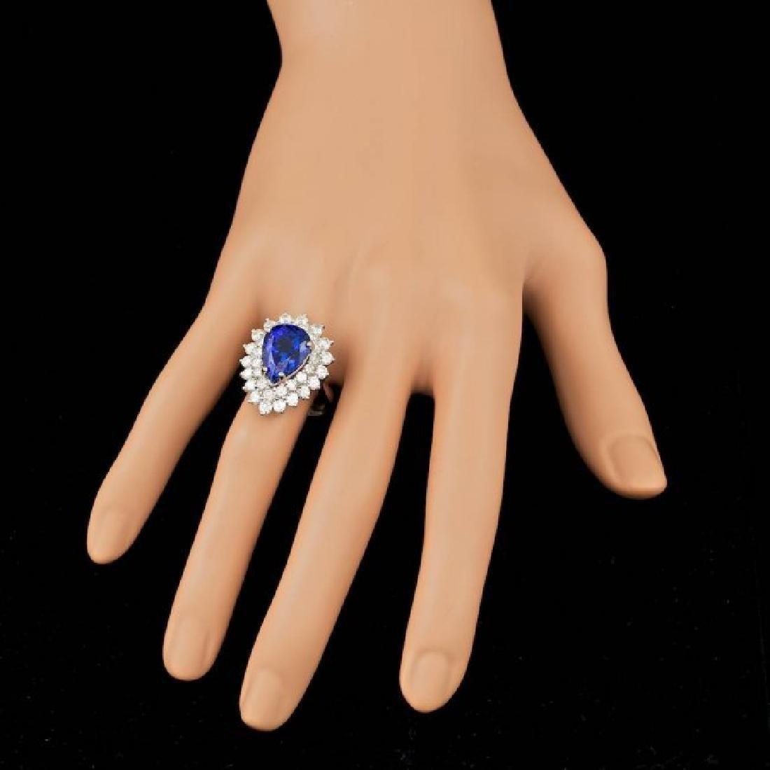 18k Gold 6.50ct Tanzanite 2.40ct Diamond Ring - 4