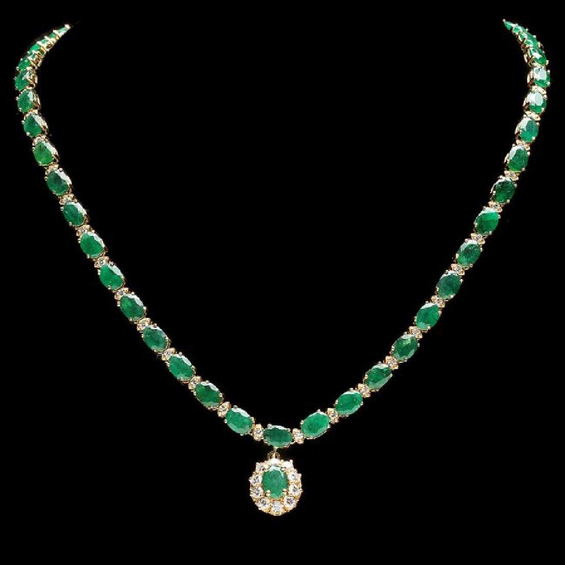 14k Gold 24.25ct Emerald 2.00ct Diamond Necklace - 2
