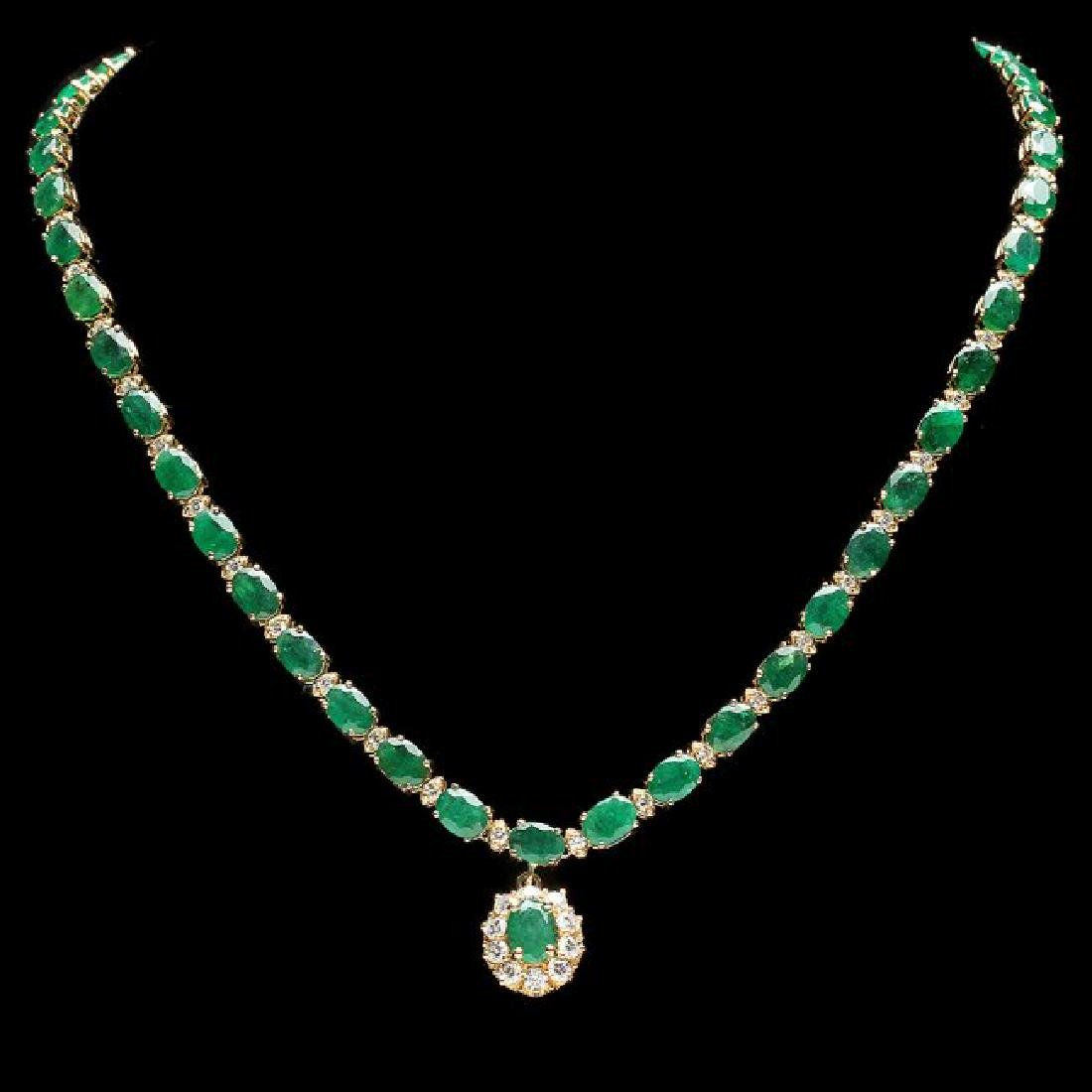 14k Gold 24.25ct Emerald 2.00ct Diamond Necklace - 2