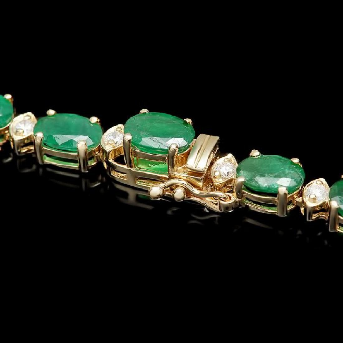 14k Gold 24.25ct Emerald 2.00ct Diamond Necklace - 3