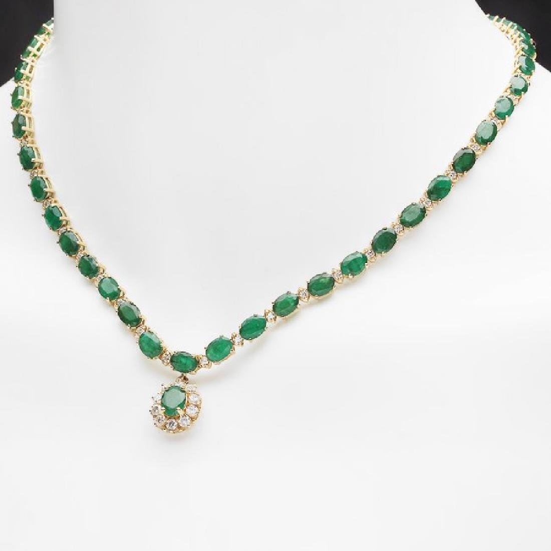 14k Gold 24.25ct Emerald 2.00ct Diamond Necklace - 4