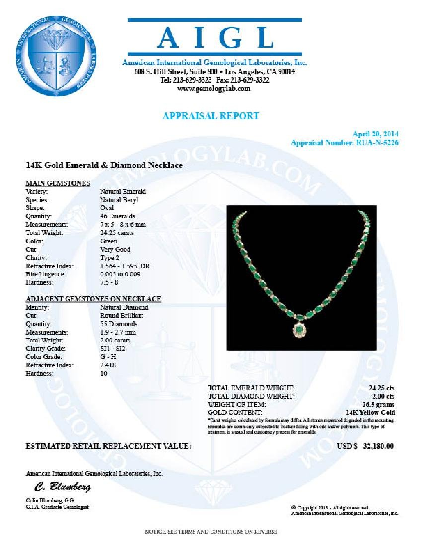 14k Gold 24.25ct Emerald 2.00ct Diamond Necklace - 5