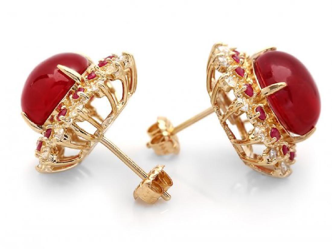 14k Gold 16.65ct Ruby 0.80ct Diamond Earrings - 2