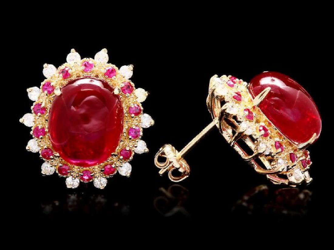 14k Gold 16.65ct Ruby 0.80ct Diamond Earrings - 3