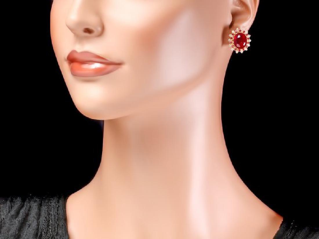 14k Gold 16.65ct Ruby 0.80ct Diamond Earrings - 4