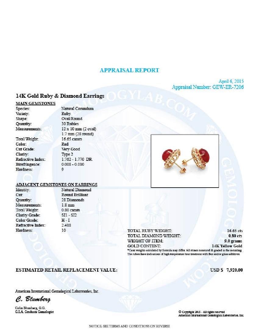 14k Gold 16.65ct Ruby 0.80ct Diamond Earrings - 5