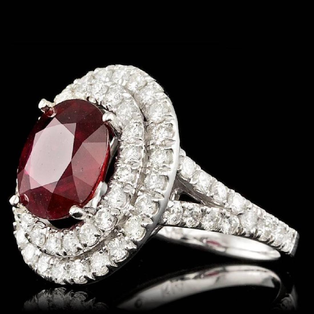 14k White Gold 5.50ct Ruby 2.15ct Diamond Ring - 2