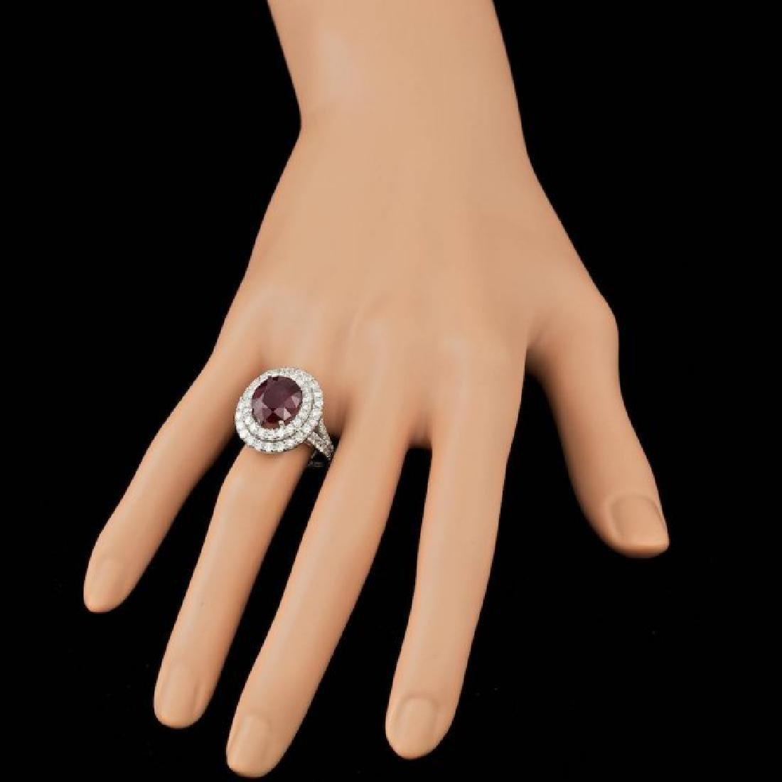 14k White Gold 5.50ct Ruby 2.15ct Diamond Ring - 3