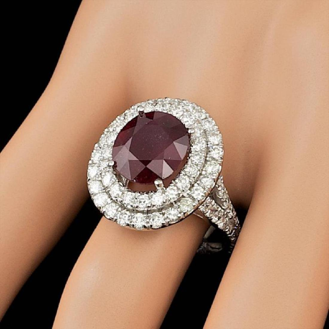 14k White Gold 5.50ct Ruby 2.15ct Diamond Ring - 4