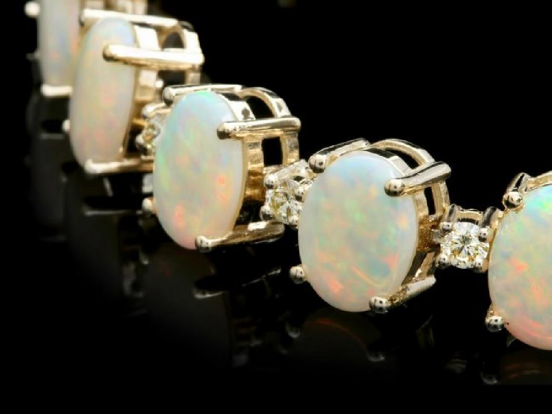 14k Gold 18.00ct Opal 1.50ct Diamond Bracelet - 2
