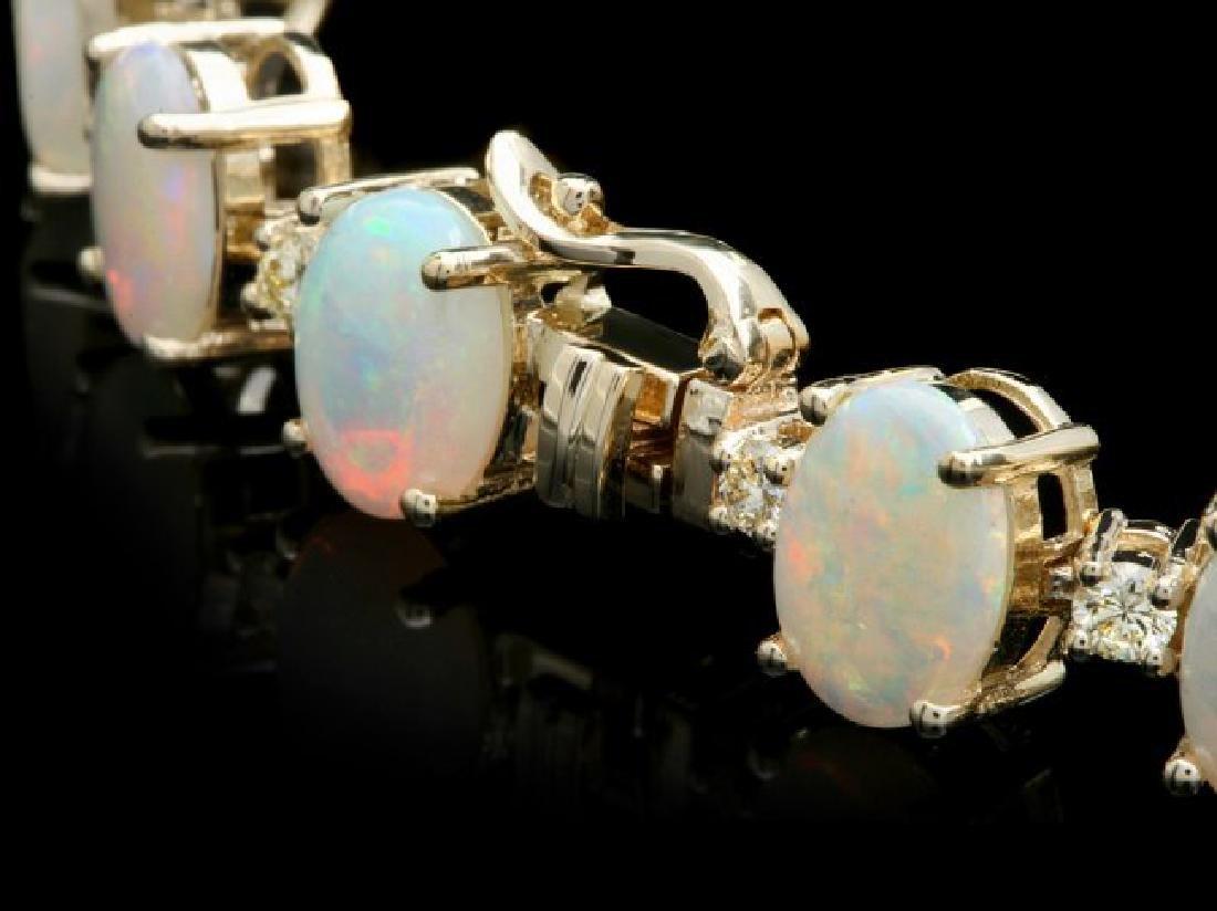 14k Gold 18.00ct Opal 1.50ct Diamond Bracelet - 3