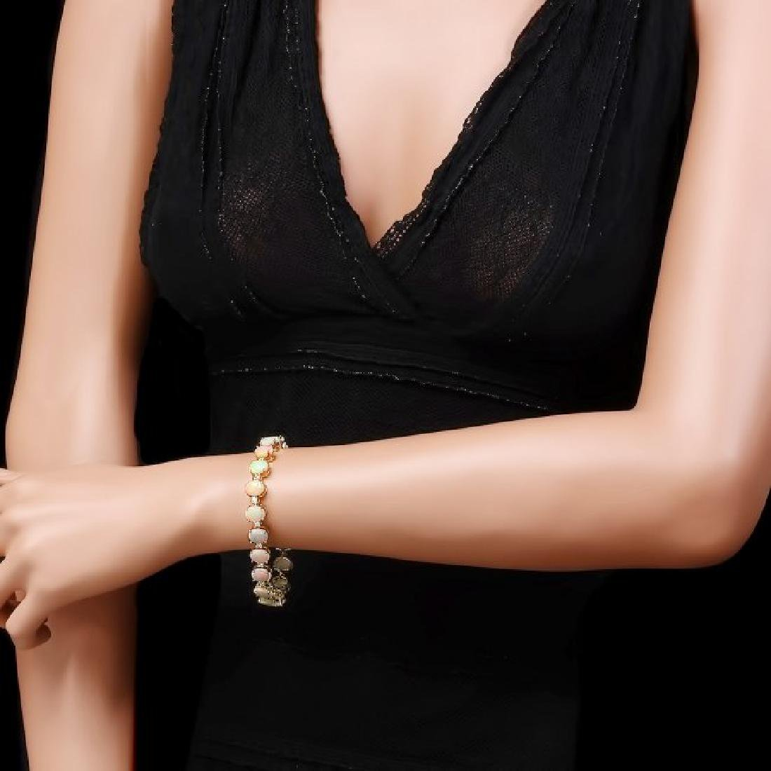 14k Gold 18.00ct Opal 1.50ct Diamond Bracelet - 4