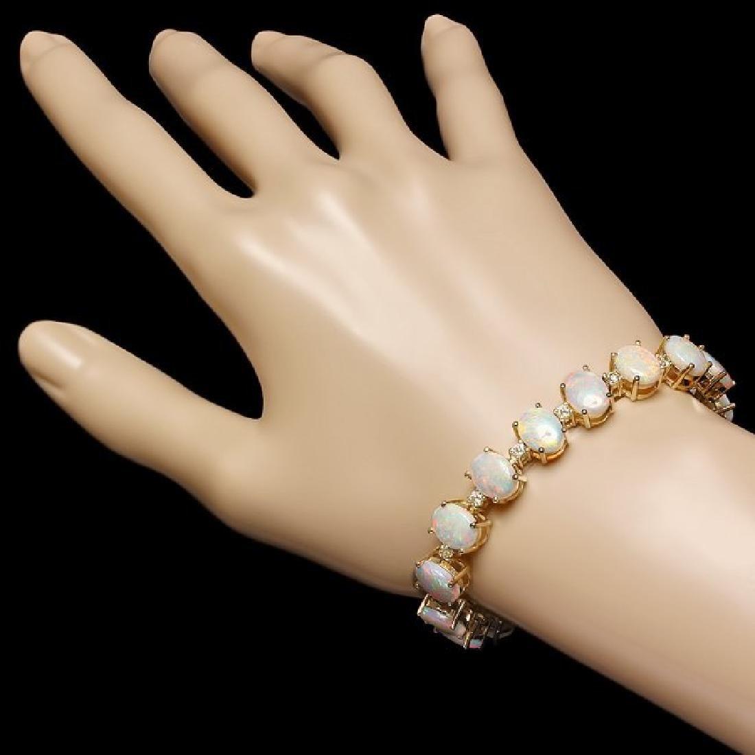 14k Gold 18.00ct Opal 1.50ct Diamond Bracelet - 5