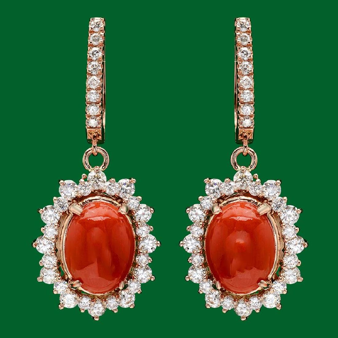 14k Gold 6.11ct Coral 2.55ct Diamond Earrings
