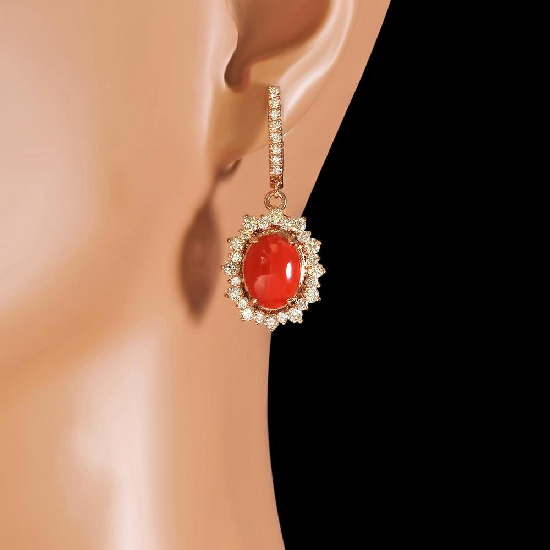 14k Gold 6.11ct Coral 2.55ct Diamond Earrings - 2