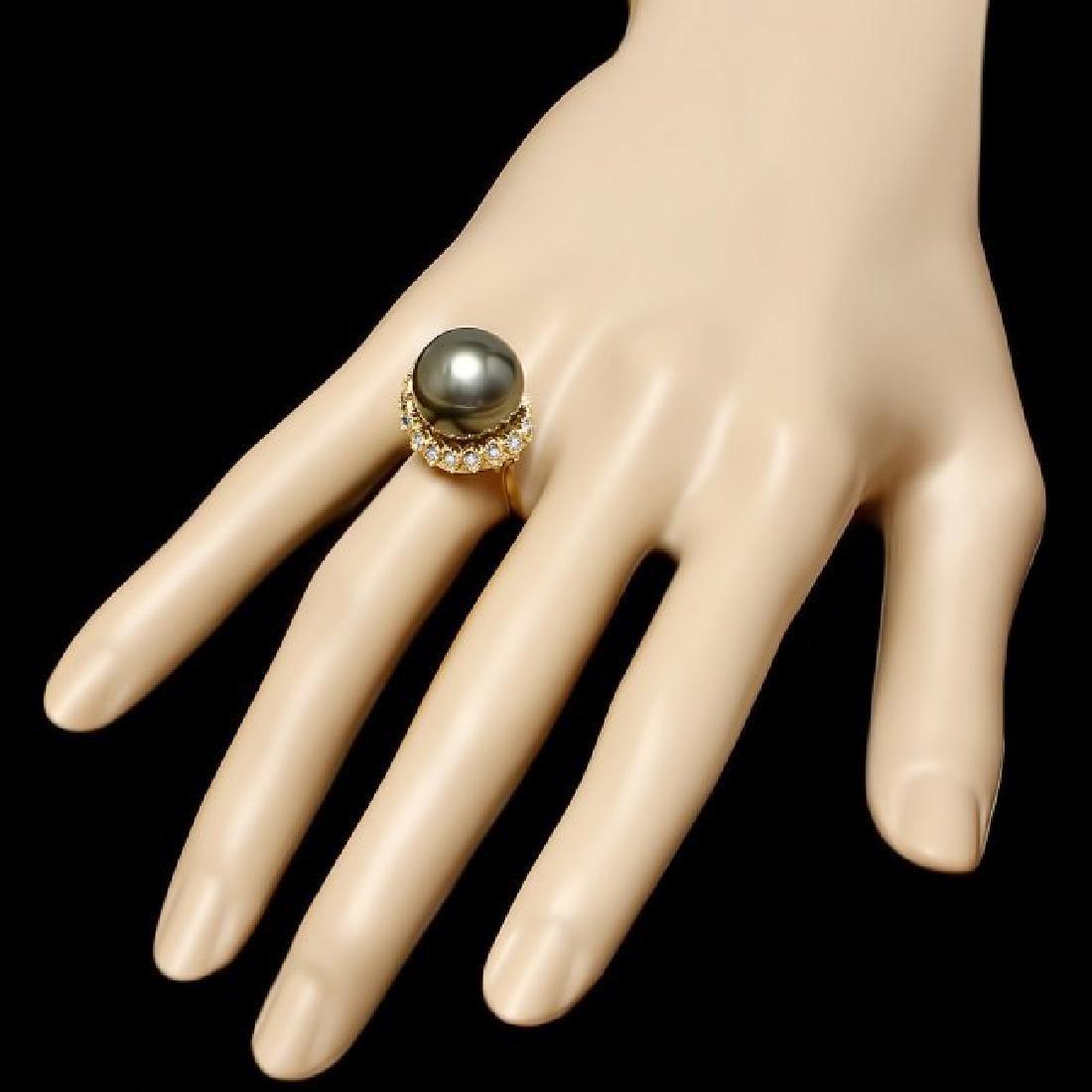 14k Gold 14 X 14mm Pearl 0.64ct Diamond Ring - 3