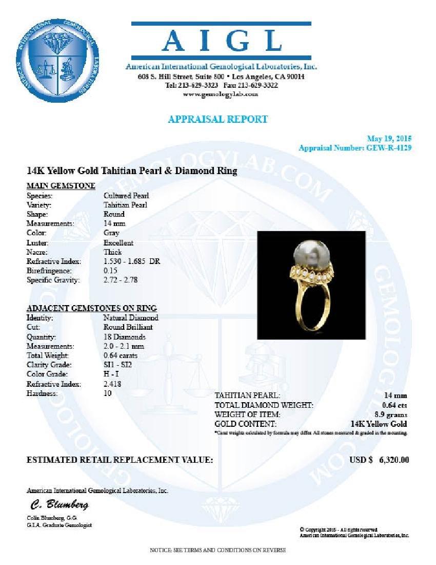 14k Gold 14 X 14mm Pearl 0.64ct Diamond Ring - 4